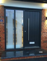 grey contemporary door and sidelights