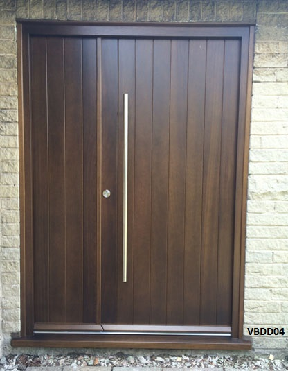 Iroko contemporary double doors