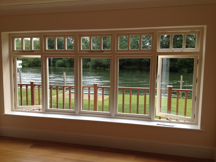 Hardwood windows painted