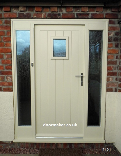 cottage door painted with sidelights